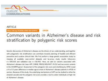 Common variants in Alzheimer's disease and risk stratification by polygenic risk scores